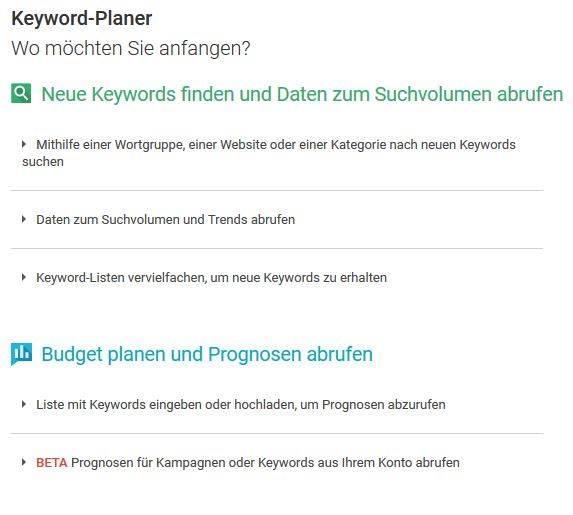 Keyword-Planer Tool Google AdWords