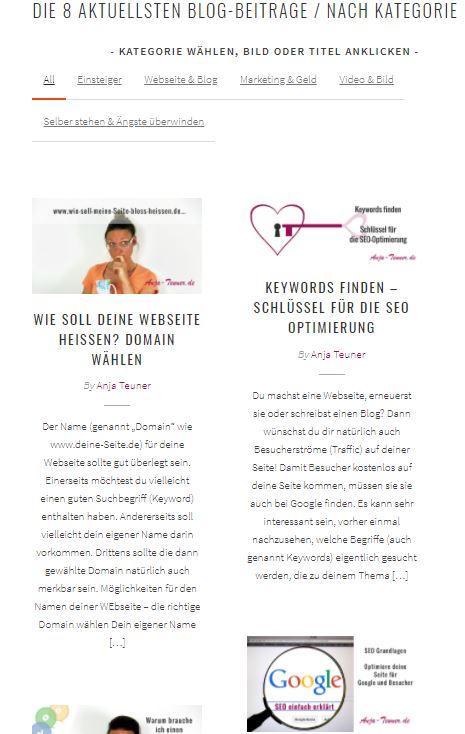 """Blog im Masonry Style mit Widget """"Portfolio"""" von LiveMesh"""